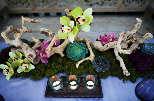 Holz Orchideen Lila Tischdeko Sommerparty Moos Deko Pinterest