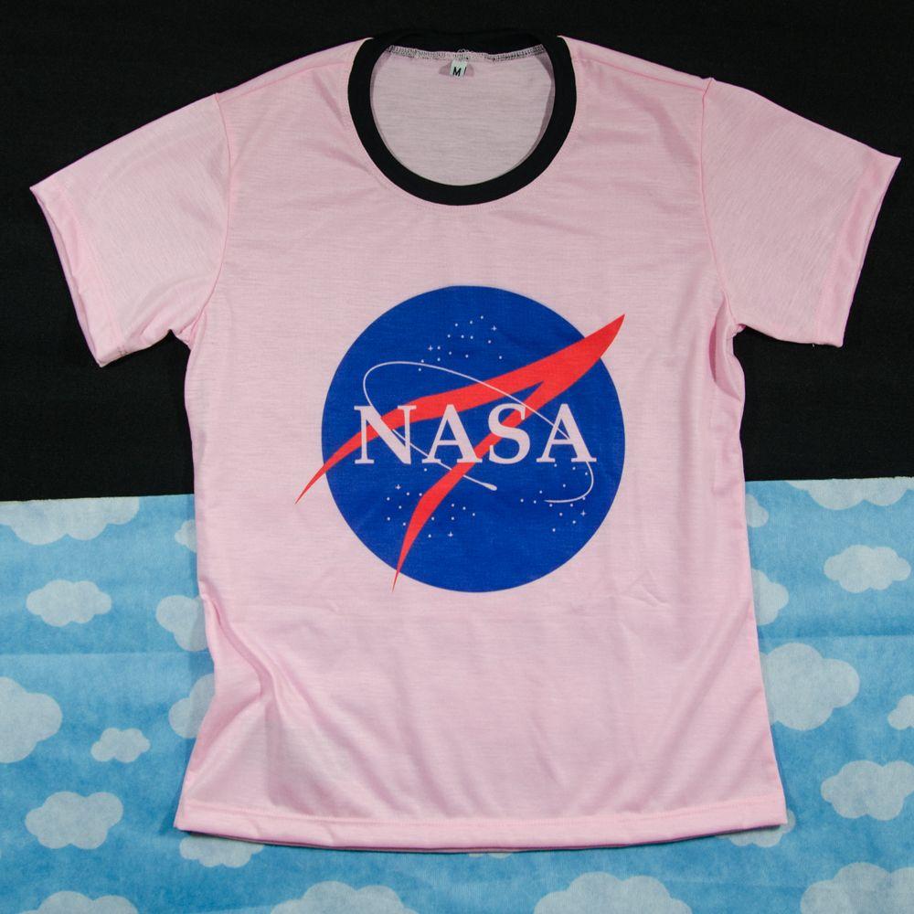 Camiseta Nasa Logo Geek Nerd Tumblr Baby Look Blusa Space Espaço ... a0bf500b3e
