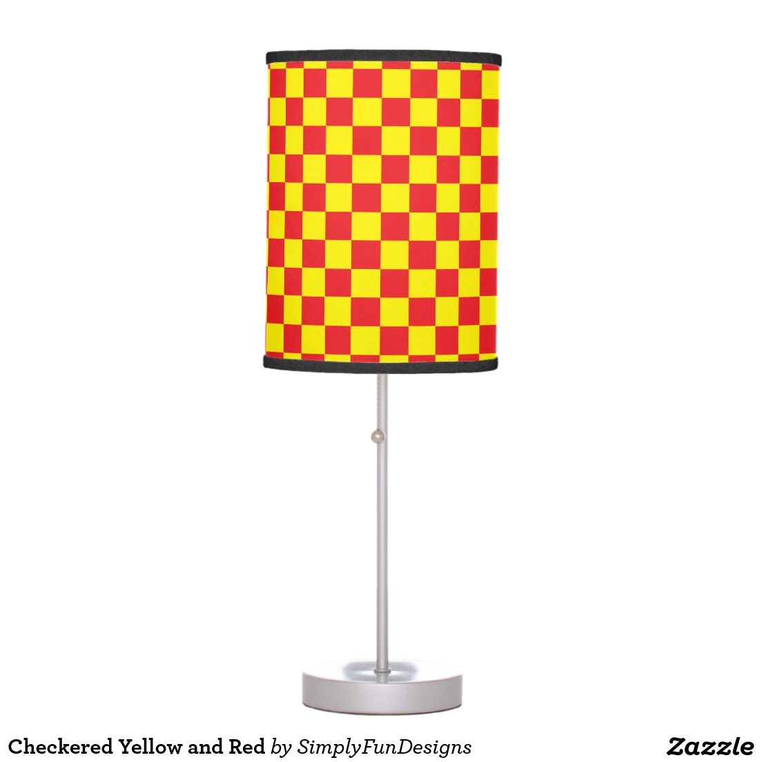 Checkered Yellow and Red Table Lamp