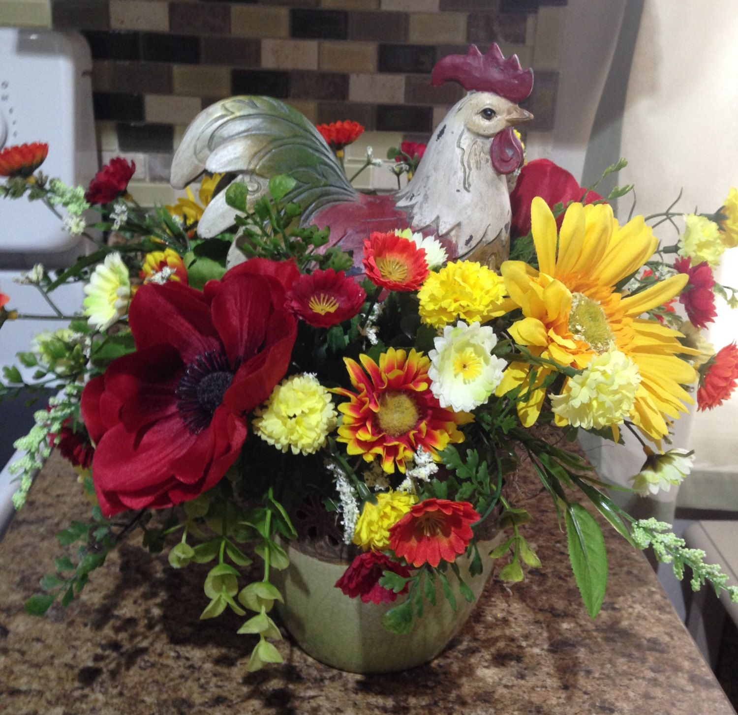 Red and yellow rooster flower arrangement by lsjhomedecor on etsy red and yellow rooster flower arrangement by lsjhomedecor on etsy mightylinksfo