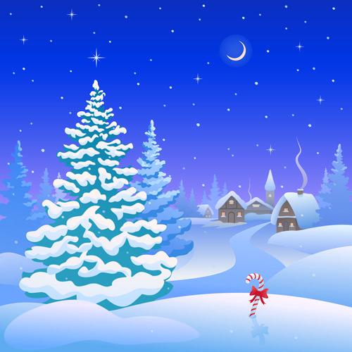 Cartoon Winter Nature Background Vector 03 Vector Background Free Download Christmas Vectors Winter Nature Christmas Scene