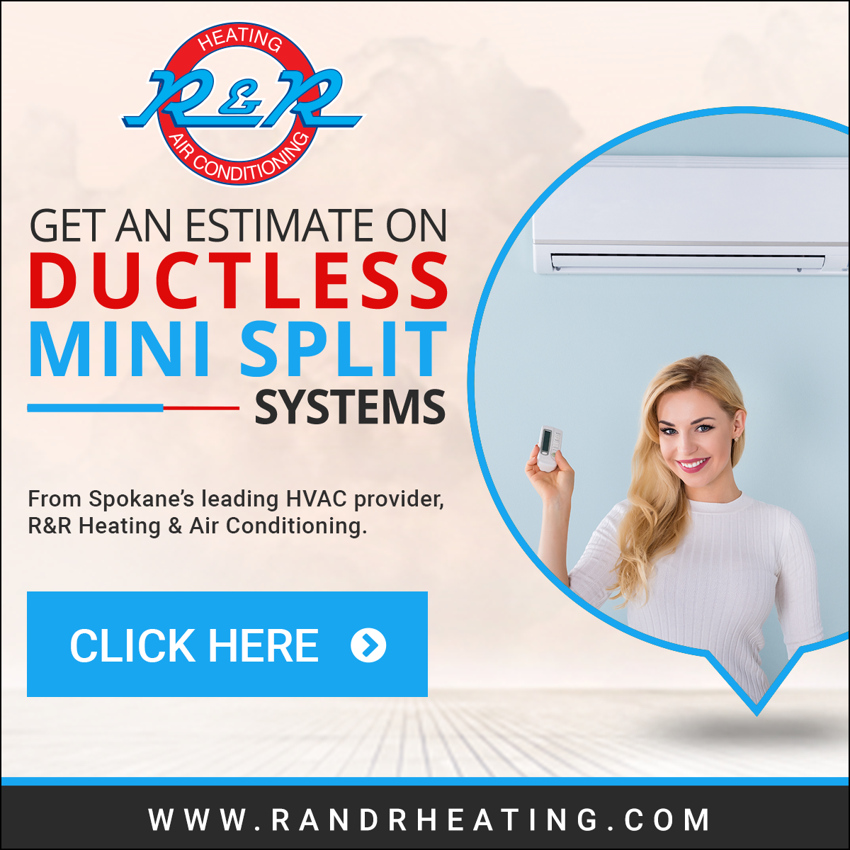 Get Setup With Ductless Mini Splits In Your Home Call R R Heating Air Conditioning At 509 484 1405 Or Heating And Air Conditioning Air Heating Hvac Services