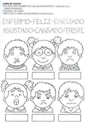 Dibujo De Expresiones De Emociones Y Sentimientos Para Trabajar Con Ninos Actividades Para Preescolar Actividades Para Clase De Espanol Emociones Preescolares