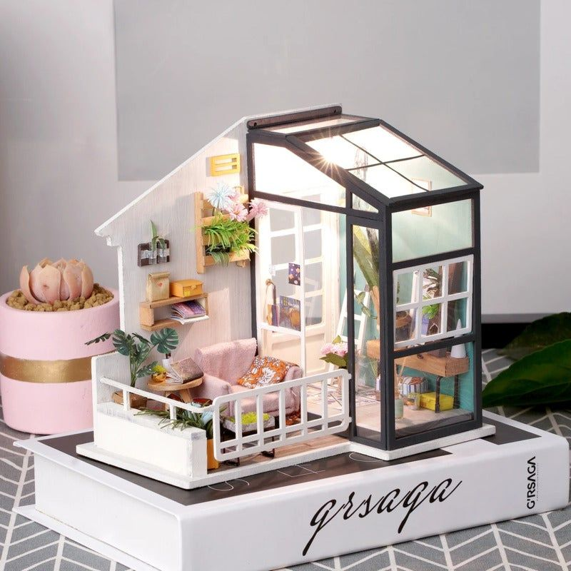 Robotime DIY Mini Dollhouse Building Model Home Decoration toys Balcony Daydreaming Robotime DIY Mini Dollhouse Building Model Home Decoration toys Balcony Daydreaming DGM05 with LED light , Tools and Instruction-English VersionYou will get:1.LED light2.The glass house3.Sofa4.All decorations the same as picture shown!Photo shows finished dollhouse,but you receive are spare parts,build by yourself !Size:1.Scale: 1:242.Dollhouse Size:17.9(L) x12.9(W)x16.5(H) cm3.Net Weight:450g Material: wood, fab