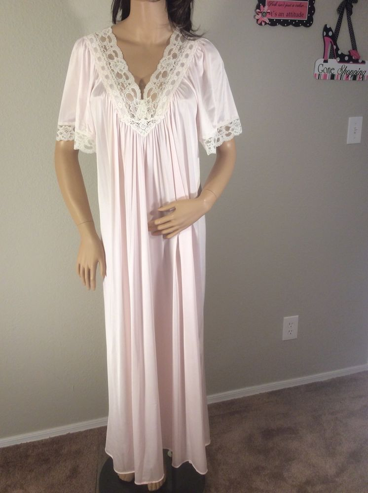 a874dac5c6b Vintage Val-Mode Pink Nylon And Lace Long Nightgown Made In USA Large   ValMode