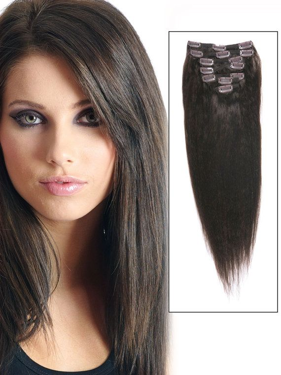Straight Dark Brown Human Hair Clip In Extensions 14 Inches 7 Pieces
