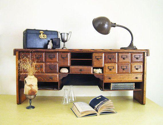 Antique desk organizer multi drawer oak wood top