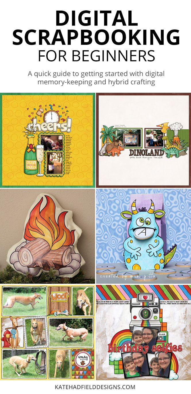 How to get started with digital scrapbooking! A beginner's guide to digital memory-keeping and hybrid crafting using digital scrapbooking supplies. Learn how to create scrapbook pages and albums on your computer.