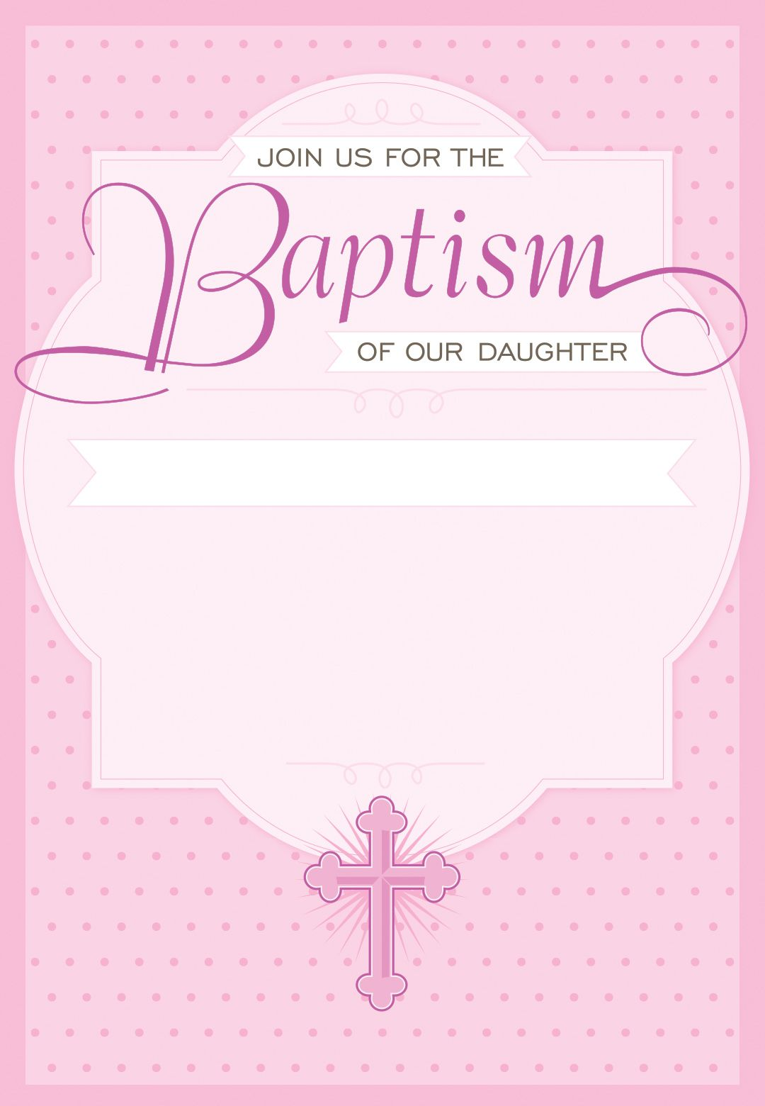 Dotted Pink Free Printable Baptism Christening Invitation