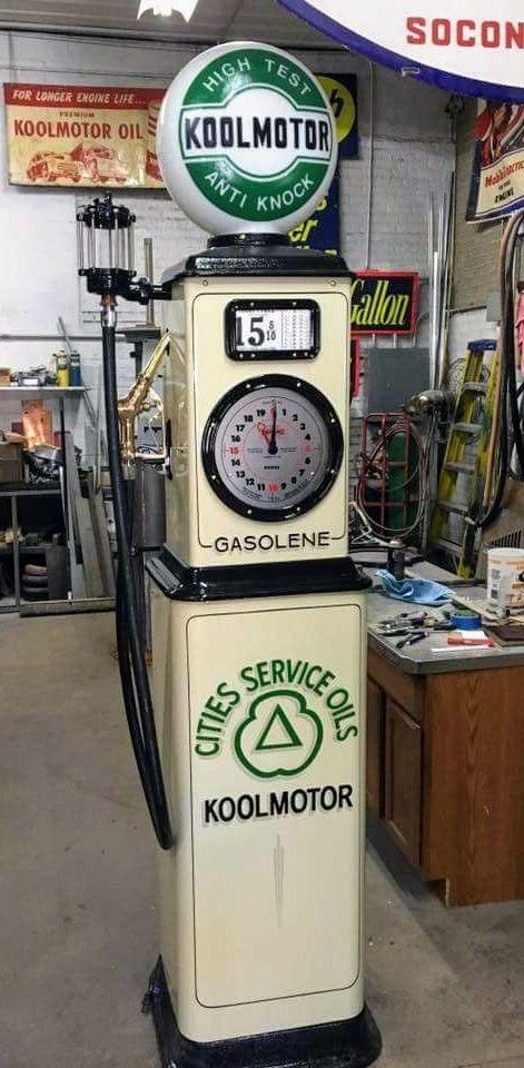Restored Original Clock Faced Gas Pump - Cities Service   Petrol