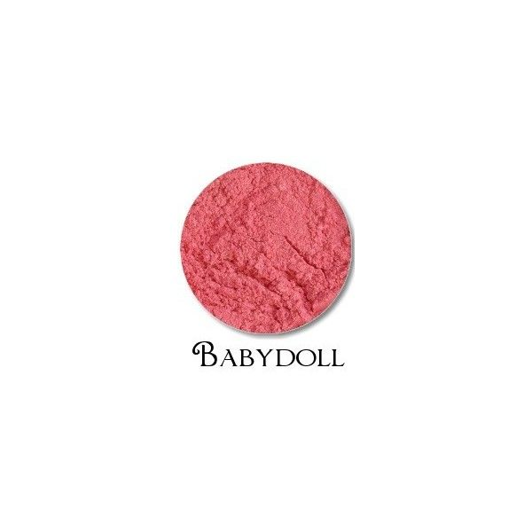 Babydoll- Hot Pink Shimmer Blush- compare to MAC Dollymix (£4.43) ❤ liked on Polyvore featuring beauty products, makeup, cheek makeup, blush and dolly mix