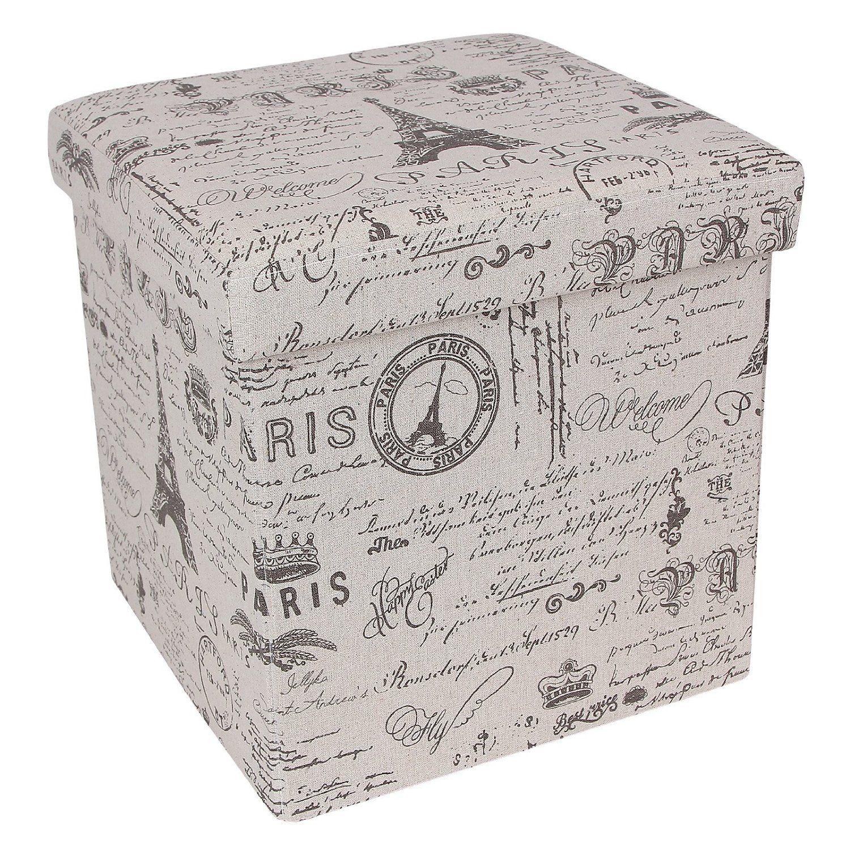 Amazon.com   Songmics Paris Eiffel Fabric Storage Ottoman Underdesk  Footrest Step Stool Cotton Fabric Country Home Decor ULSF30X