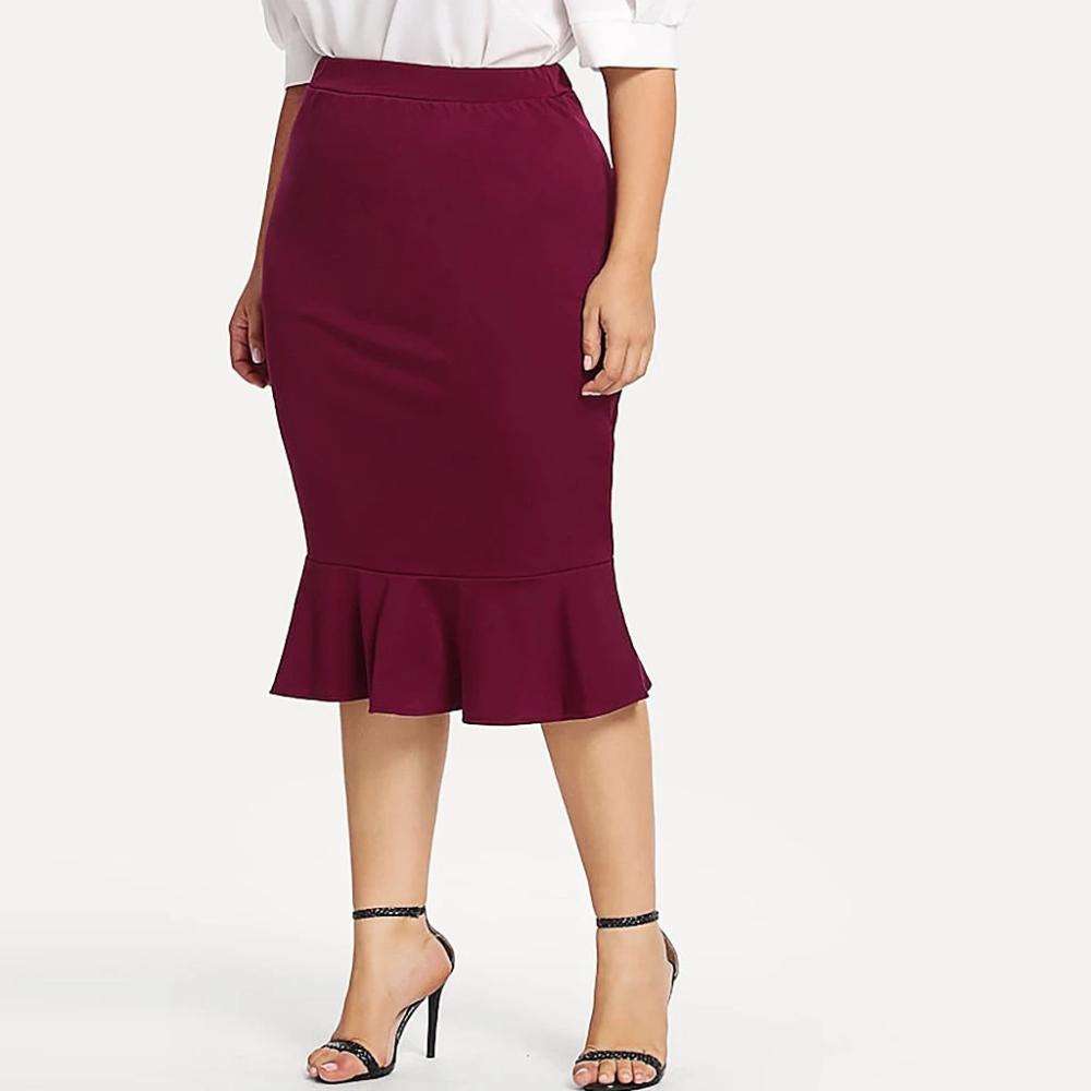 Womens Casual Elastic Waist Midi Skirts