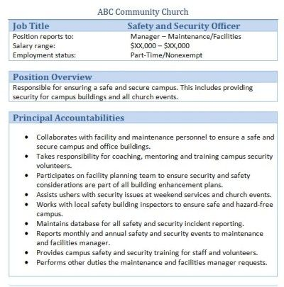 Sample Church Employee Job Descriptions Job description and Churches - administrative assistant job duties