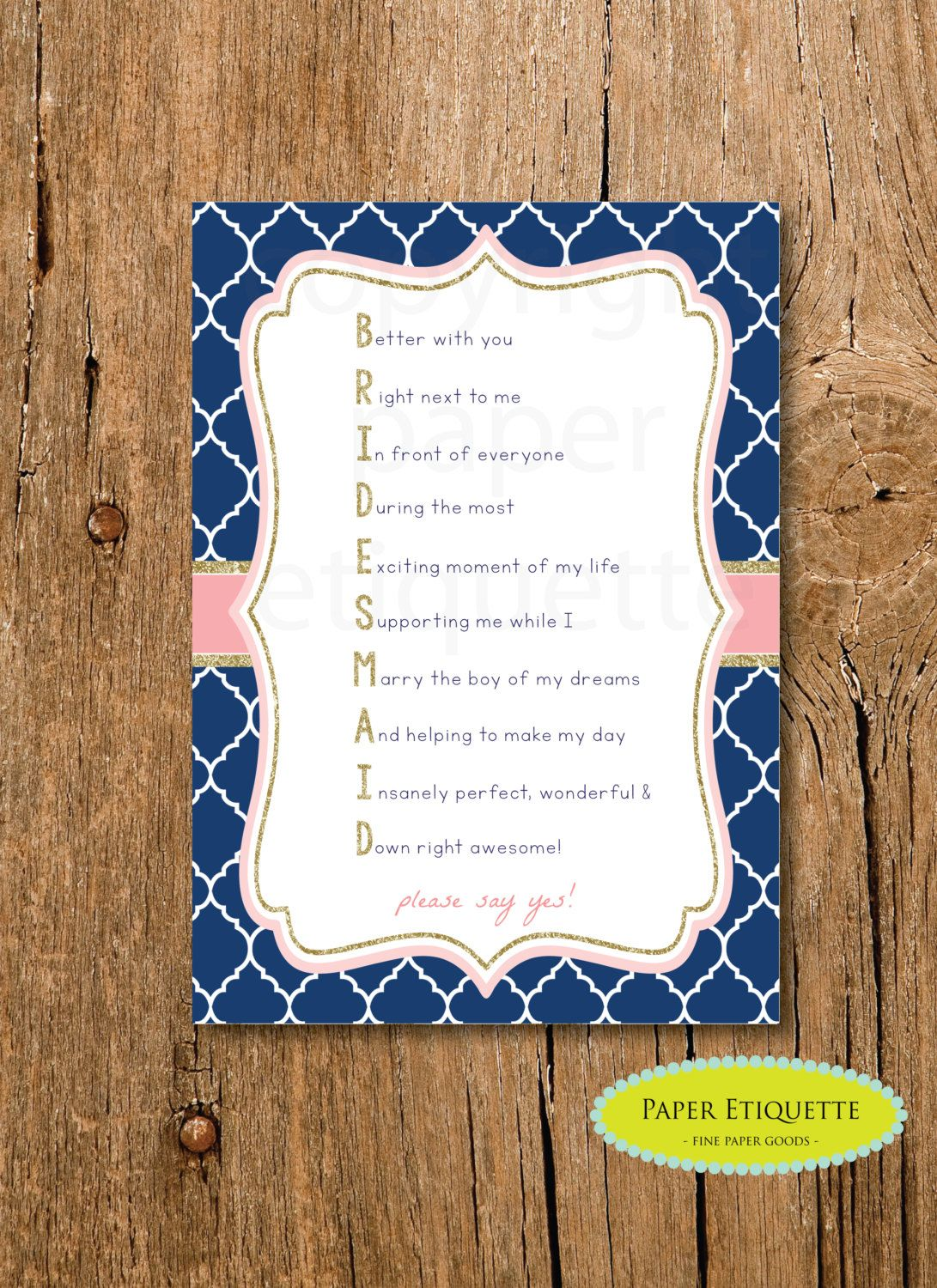 Instant Upload Bridesmaid Invite Navy Gold Will You Be My