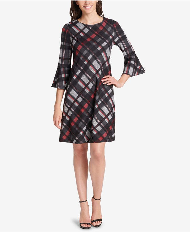 ccae41c69cf Jessica Howard Petite Plaid Bell-Sleeve Dress - Red PXL