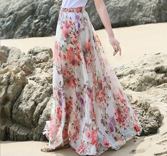 Floral Long Chiffon Skirt Maxi Skirt Ladies Silk Chiffon Dress Holiday Beach Sundress On Etsy