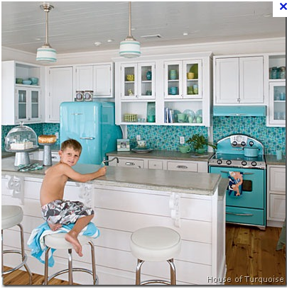 Turquoise Appliances - Looks like a dollhouse!  My inner child loves it!