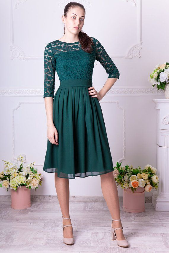 1a1a47fc8c5 Short dark green bridesmaid dress with sleeves. Knee length green cocktail  dress. Women party outfit