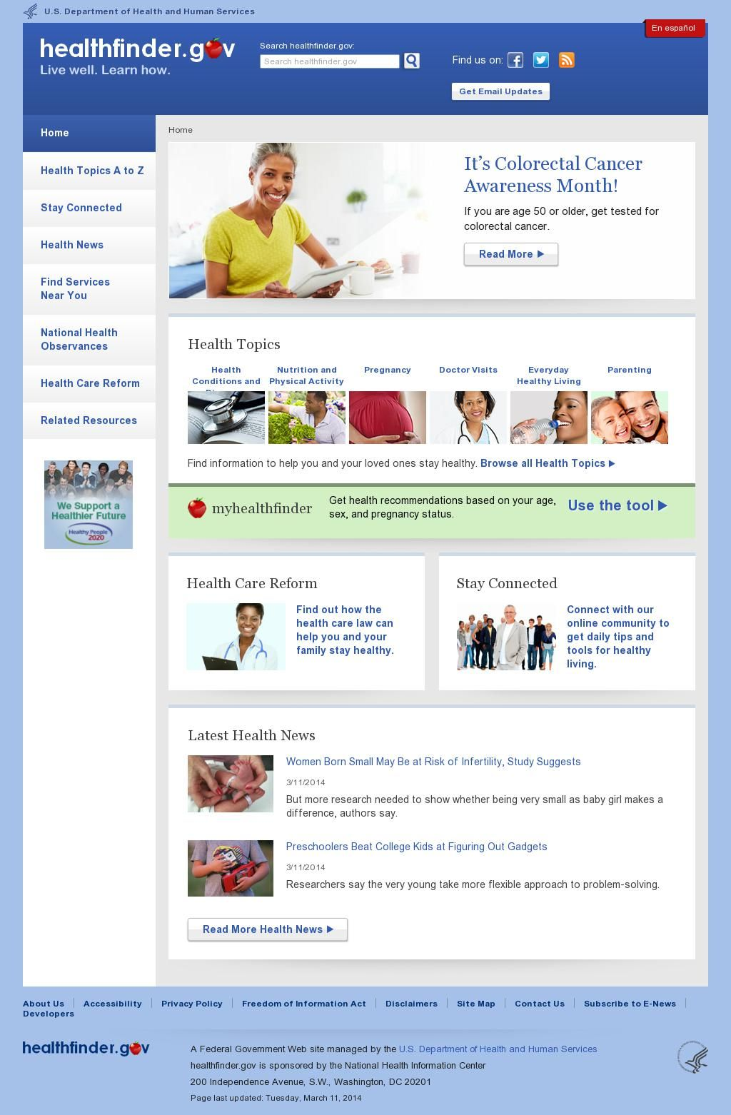 Healthfinder site from the U.S. Department of Health and