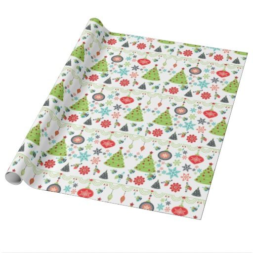 Holiday Christmas Trees Snowflakes Wrapping Paper