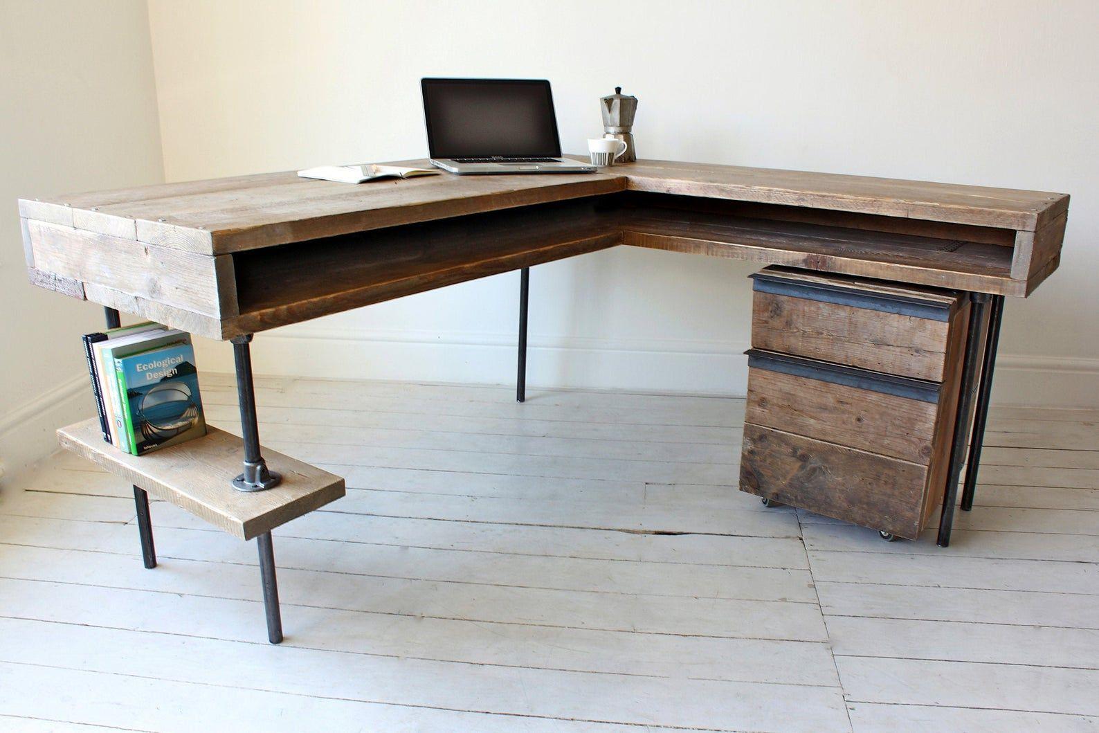 L Shaped Desk 60 X 60 Industrial Etsy In 2020 Wood Corner Desk Home L Shaped Desk