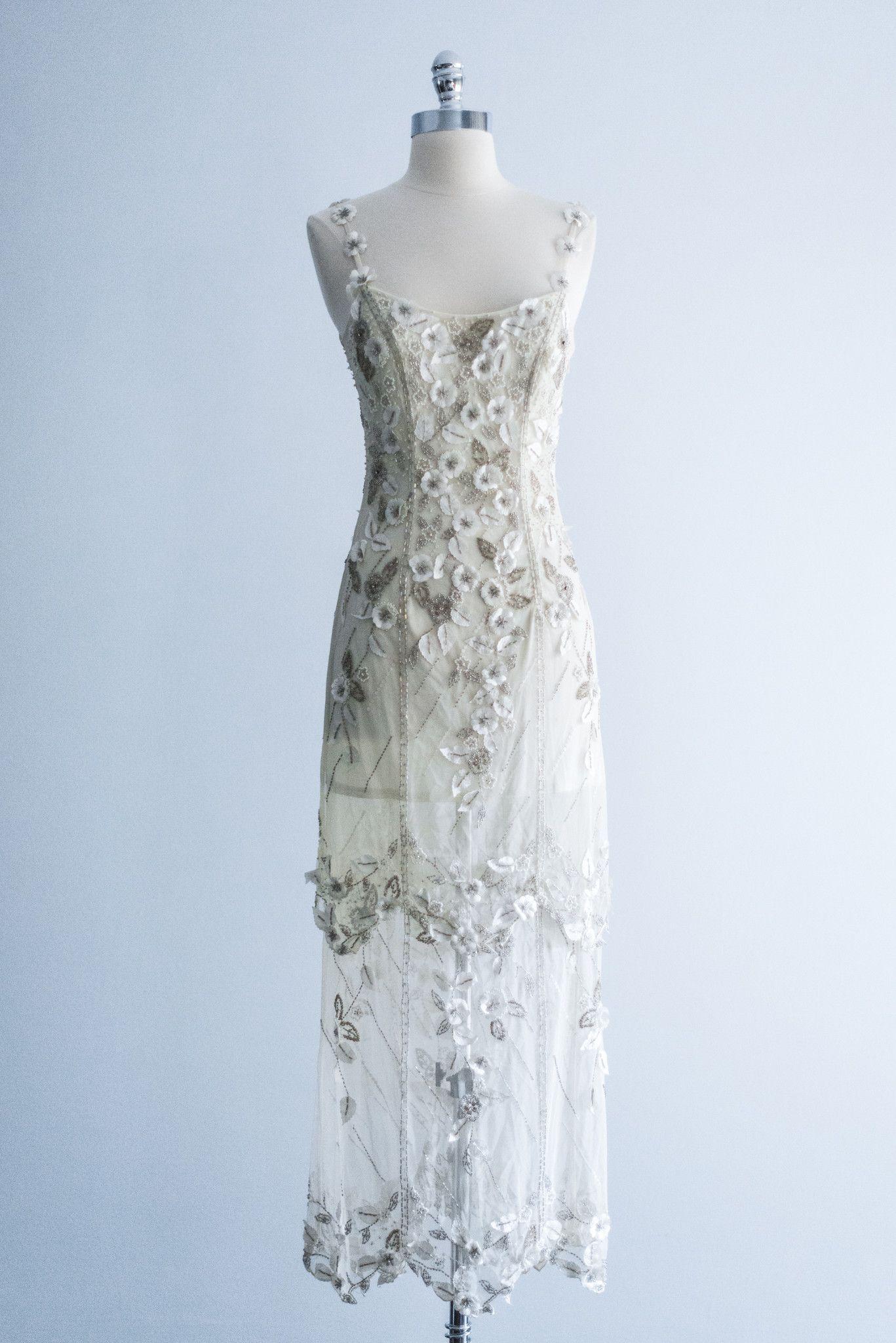 Reserved s tulle beaded silk flower applique dress s flower