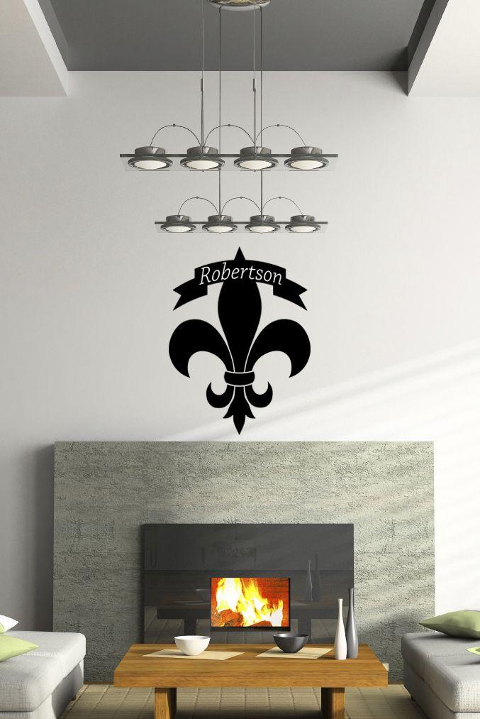 Personalized Fleur De Lis Monogram Vinyl Wall Decal Fleur De Lis