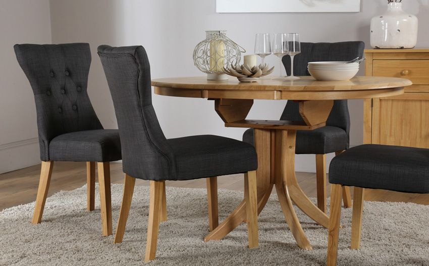Hudson Round Oak Extending Dining Table With 6 Bewley Slate