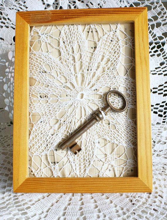 Vintage key framed /wedding gift in a by glamourwithhandmade, $35.00
