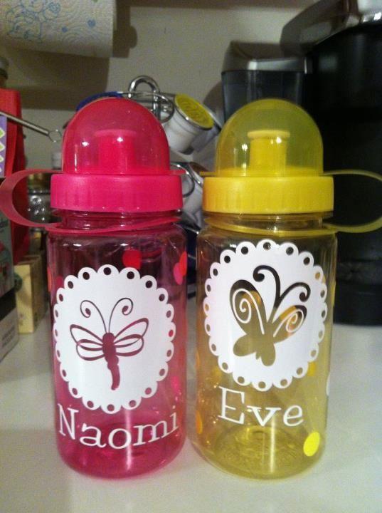 Cute Water Bottles Kids Silhouette Monogram Water