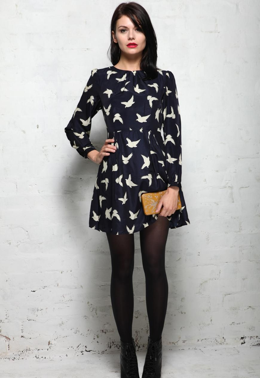Bird print navy blue long sleeved prom dress rock my vintage