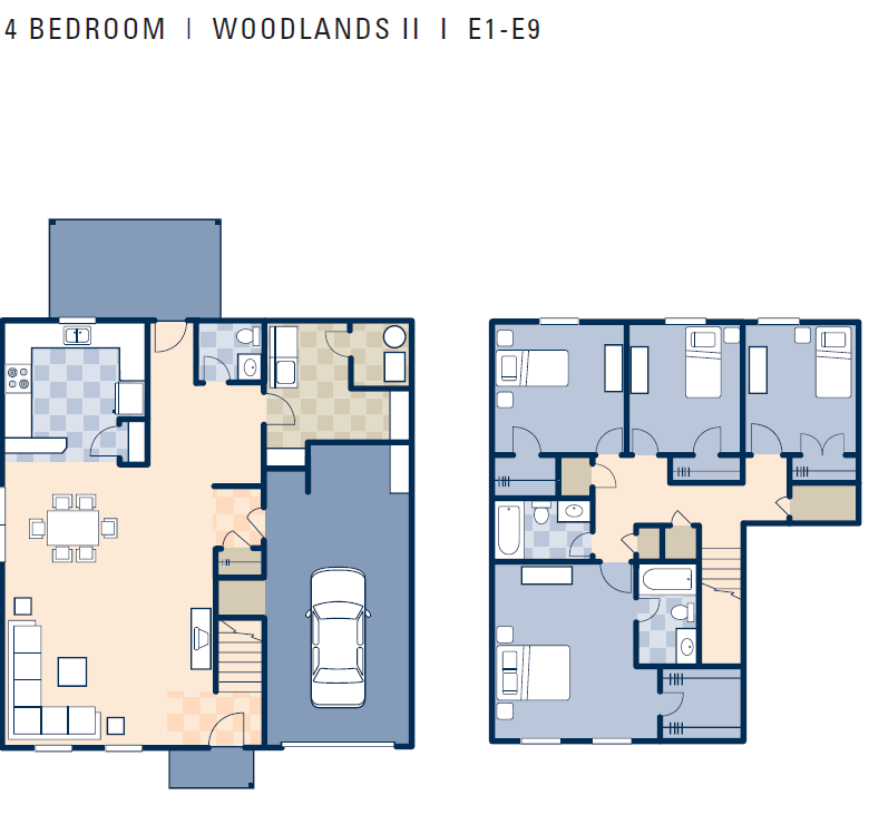 4 Bedroom Townhomes: Woodlands II Neighborhood: 4 Bedroom