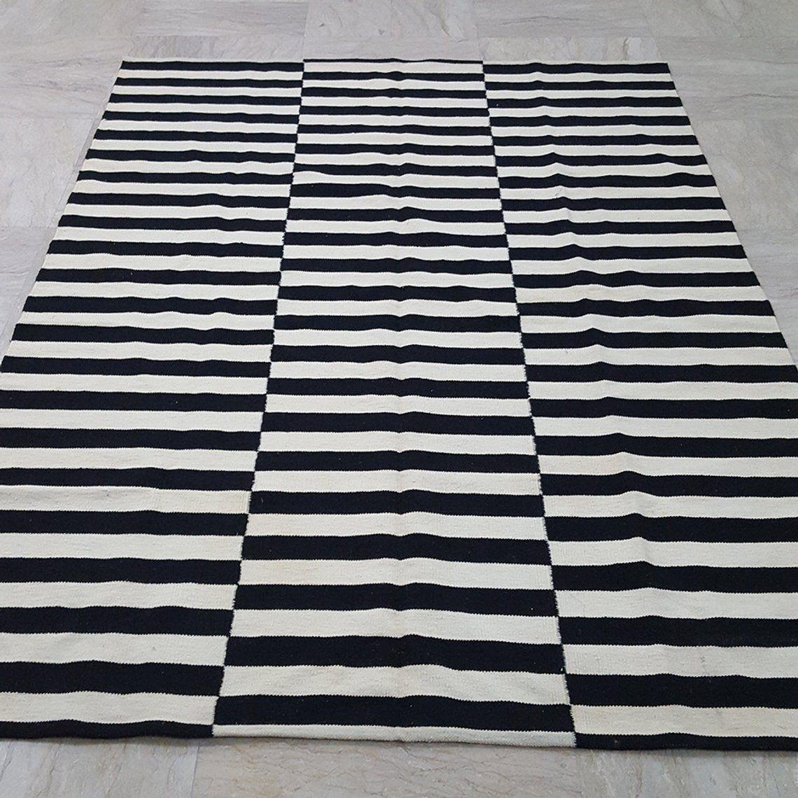 Black And White Ivory Striped Rug Handmade Striped Kilim Rug Etsy Striped Rug Striped Kilim Black And White Carpet