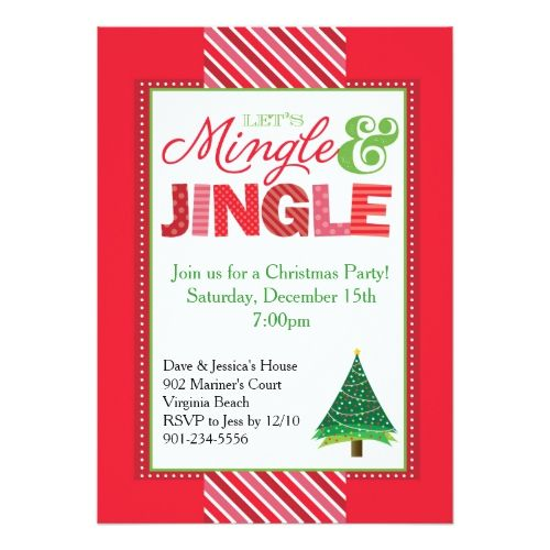 Mingle and Jingle Christmas Party Invitation Party invitations - holiday party invitation