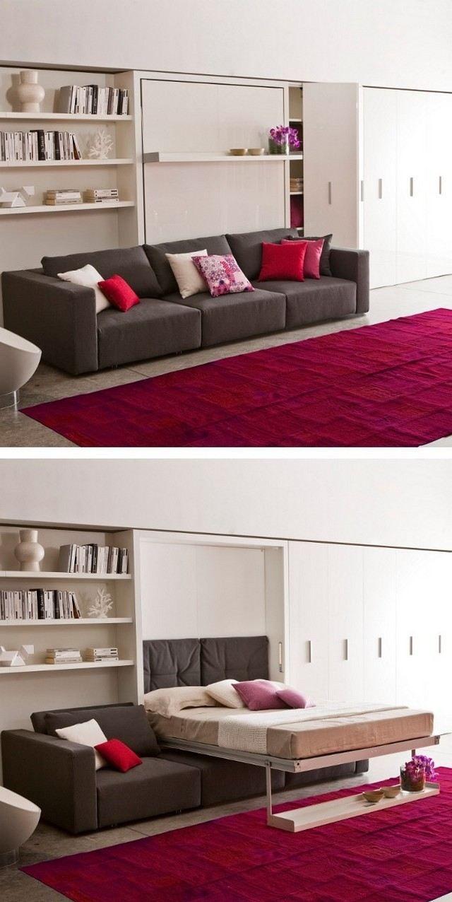 ausziehbares sofa moderne designer mbel ideen wandregal betten fr kleine rumekleine rumekleine wohnungenplatzsparende - Platzsparende Betten Fr Kleine Rume