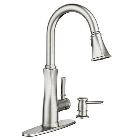 Moen Lizzy Spot Resist Stainless 1 Handle Pull Down Deck Mount Kitchen Faucet