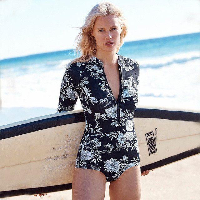 1b2fcf5843 2017 Floral Print One Piece Swimsuit Long Sleeve Swimwear Women Bathing  Suit Retro Swimsuit Vintage One-piece Surfing Swim Suits