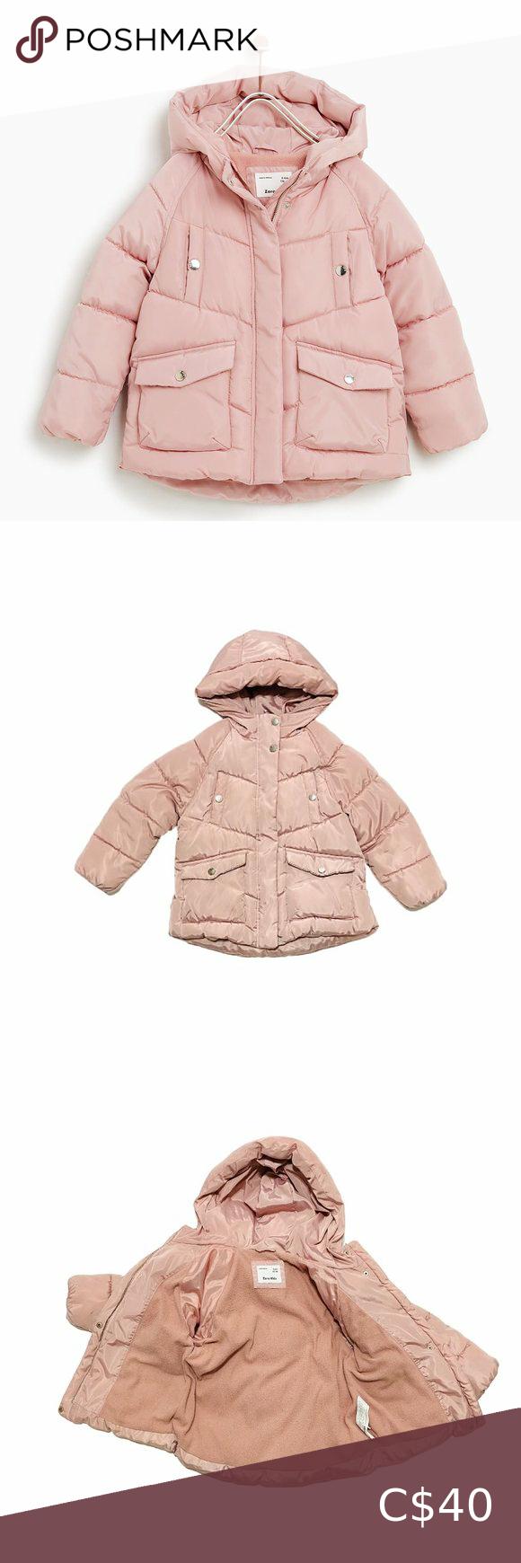 Zara Shiny Pink Puffer Jacket Girls Puffer Coat Pink Puffer Jacket Zara Kids Coats [ 1740 x 580 Pixel ]