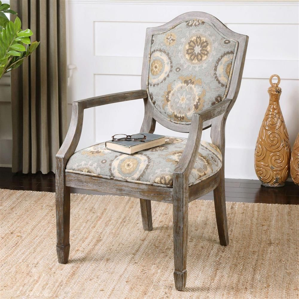 Alita french country soft blue rustic floral birch arm