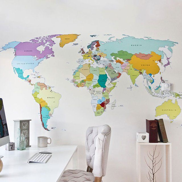 (14) Fancy   Printed World Map Wall Decal