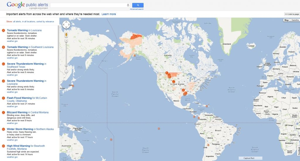 Google adds public alerts to google maps google maps
