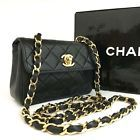 CHANEL Quilted Matelasse CC Logo Lambskin Chain Mini Shoulder Bag Black /114