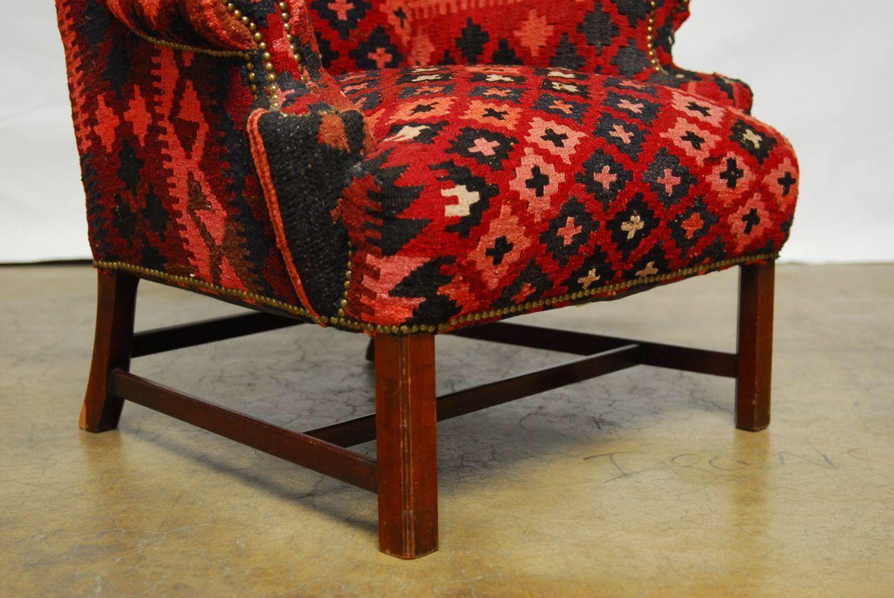 Kilim Wingback Armchair on Chairish.com