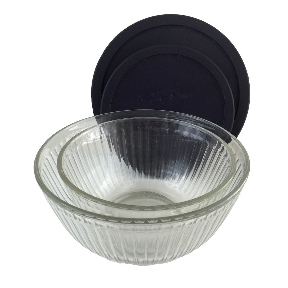Double wall coffee cup likewise vintage pyrex clear glass refrigerator - Pyrex Glass Bowls 2 Clear Mixing Serving Bowls Ribbed Nesting Set Lids 6 10 Cup