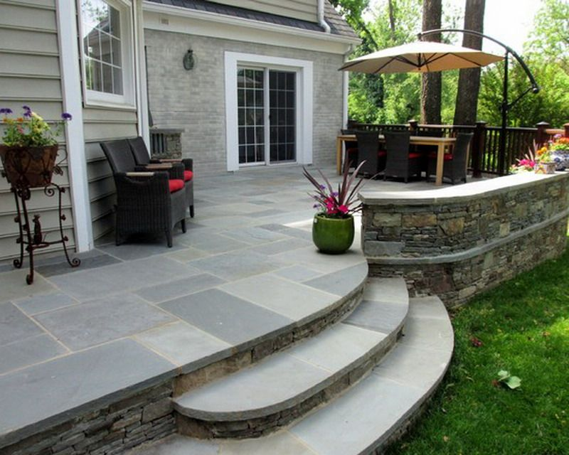 custom ideas for traditional raised flagstone patio exterior