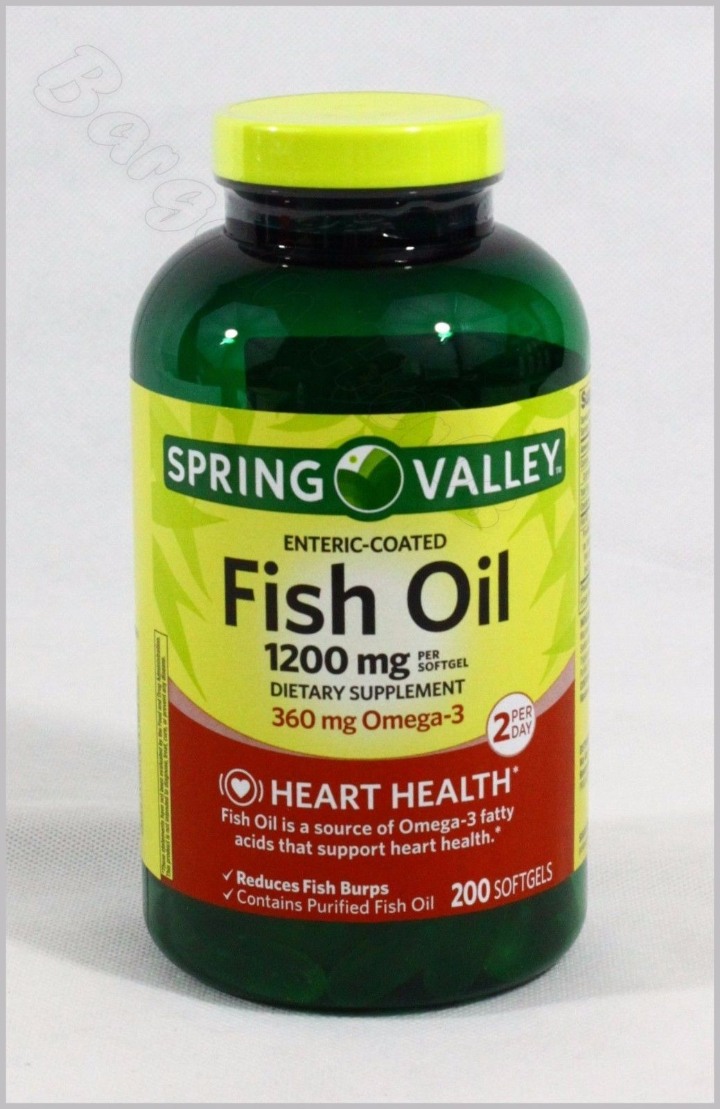 Spring Valley Enteric Coated Fish Oil 1200mg 200 Softgels Free