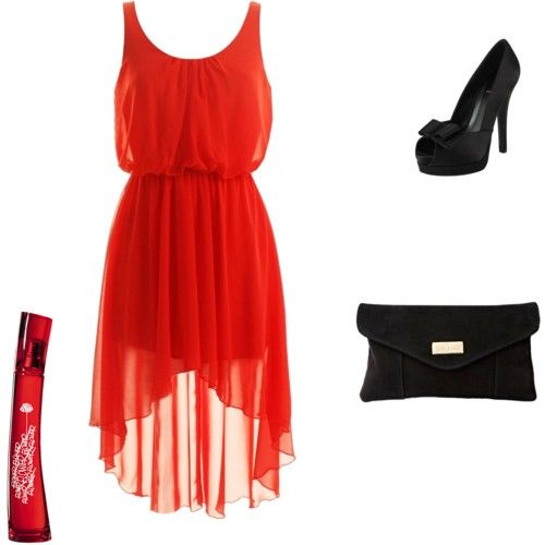 Black accessories for red dress | Fashion red dress