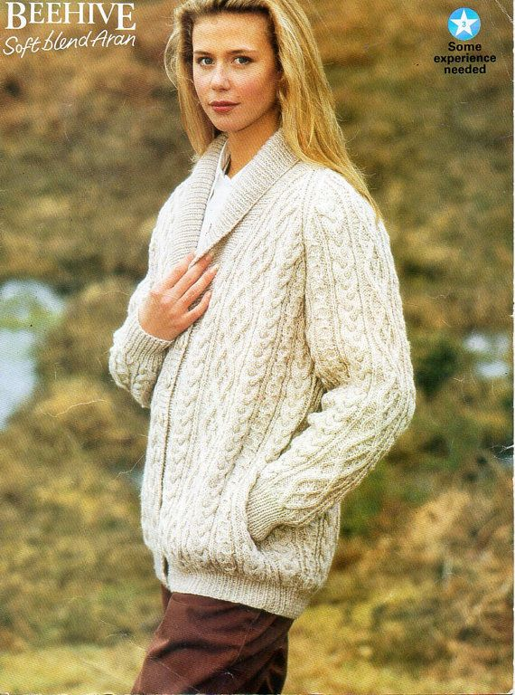 14f32f7be98f ladies aran jacket knitting pattern pdf womens shawl collar cable ...