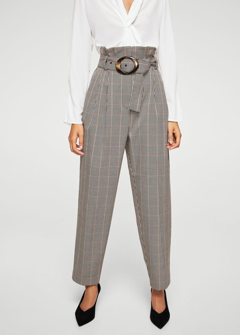 4ee0556bf45f Pantalon à carreaux boucle écaille - Femme